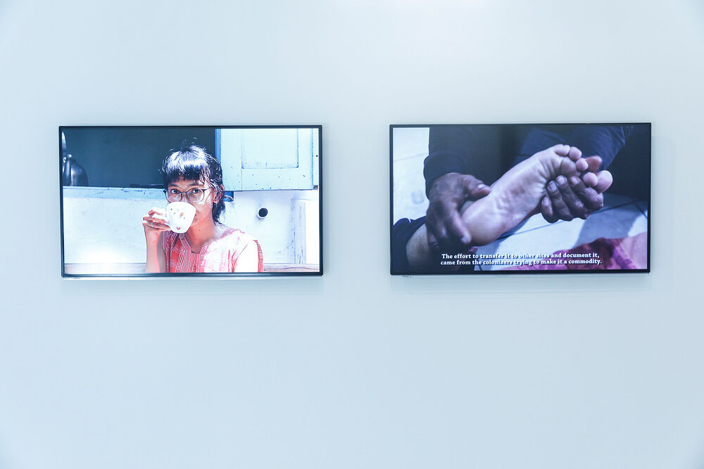 Lifepatch, 'Spectacular Healing' (2019), two channel video. Exhibition installation view at Framer Framed. Image courtesy of Framer Framed, photograph by Eva Broekema