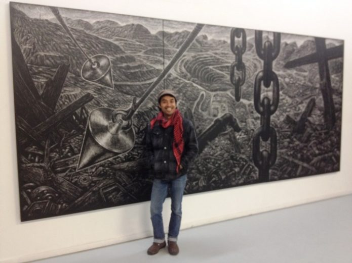 Maryanto at Gillaman Barracks, Singapore. 'Tales of the Gold Mountain', acrylic on canvas, 2012. Photo Courtesy of the artist.